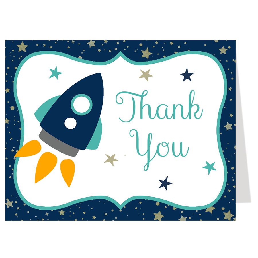 Rocket Ship, Aqua, Thank You Card