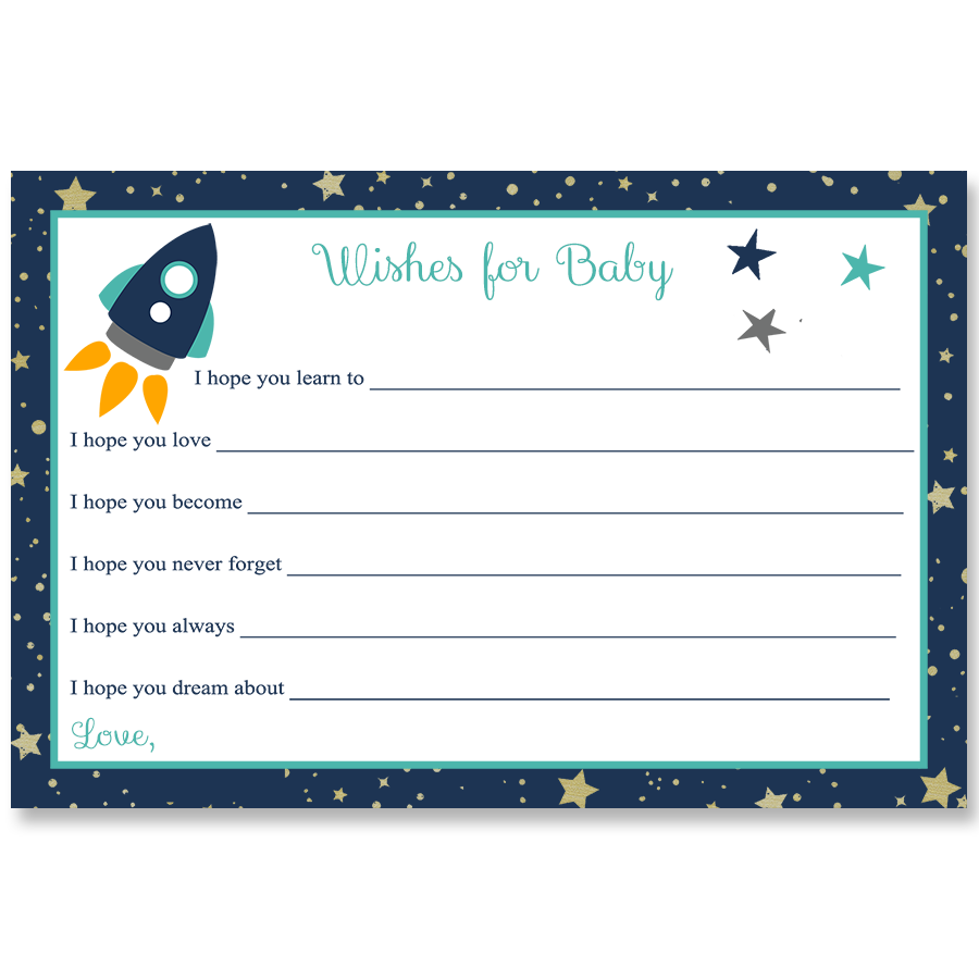 Rocket Ship, Aqua, Wishes Card