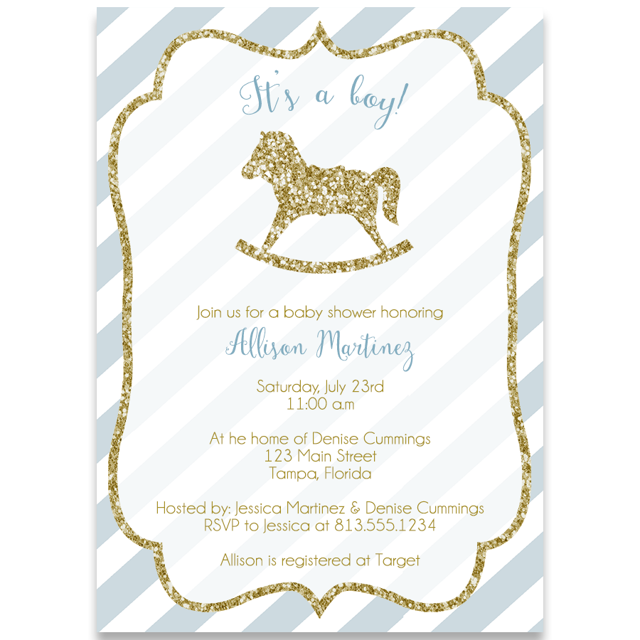 Rocking Horse Baby Shower Invitation