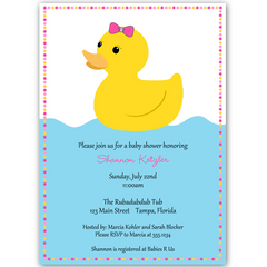 Rubber Duck Pink Baby Shower Invitation