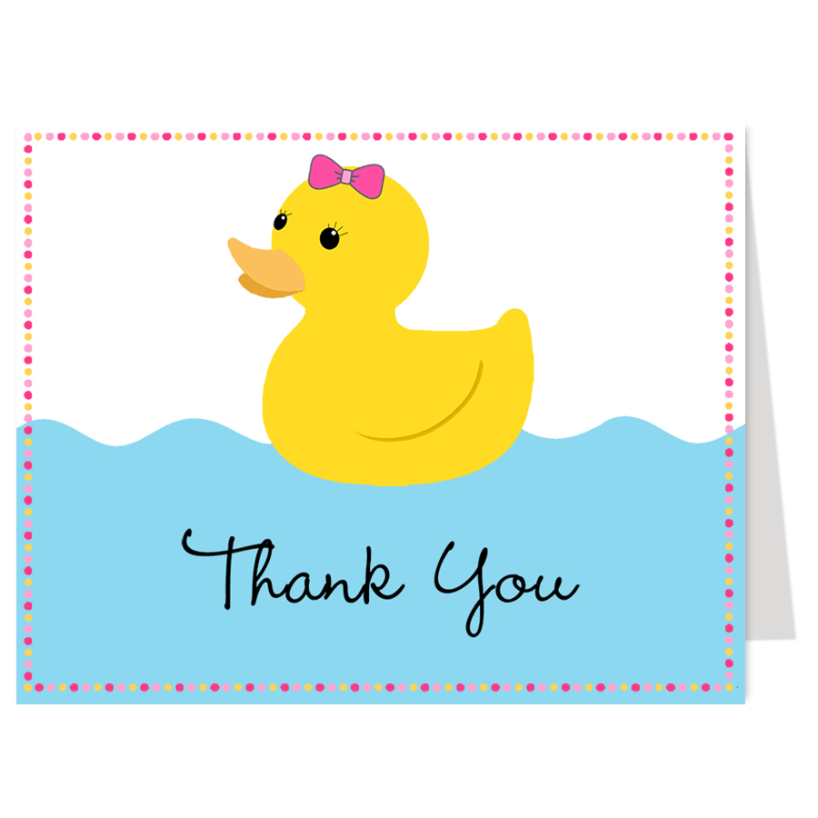 Rubber Duck Pink Thank You Card