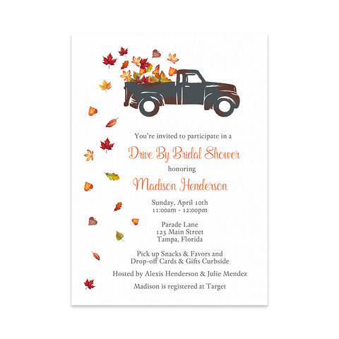 Rustic Truck Drive By Bridal Shower Invitation