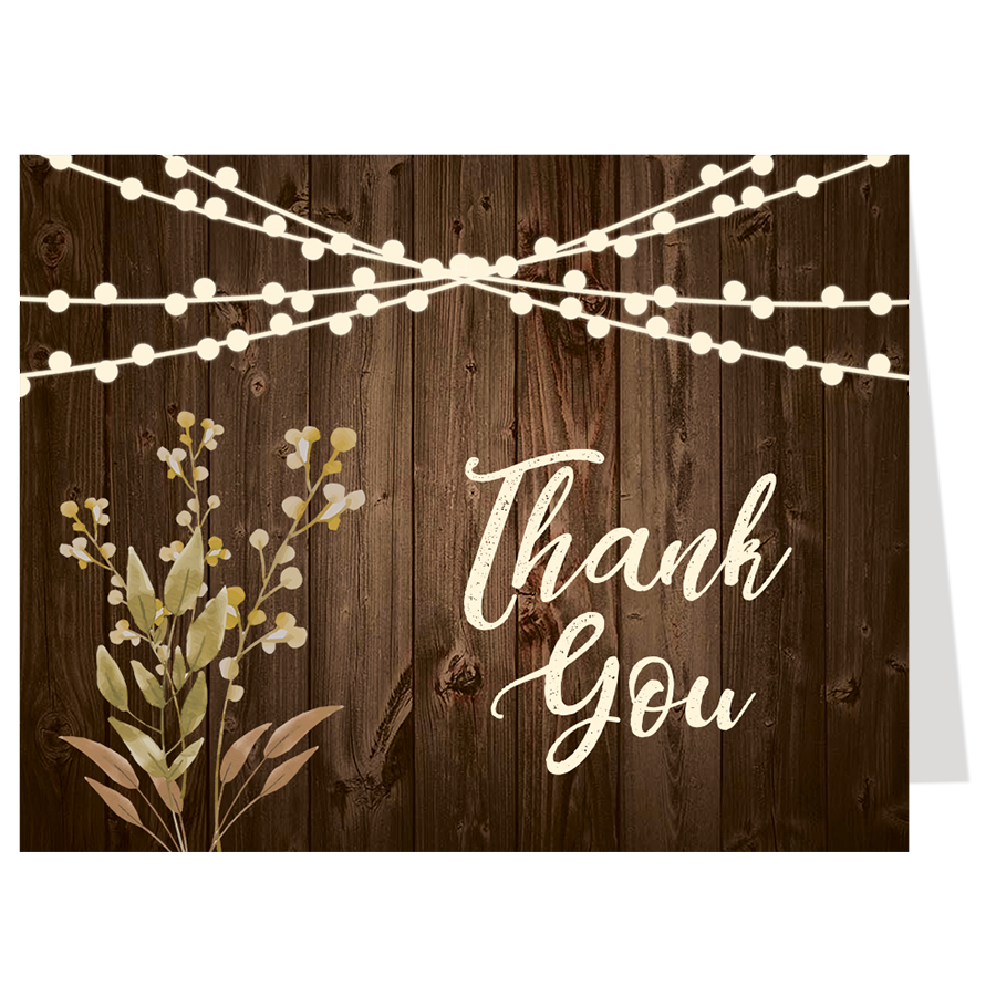 Rustic Wood Bridal Shower Thank You Card