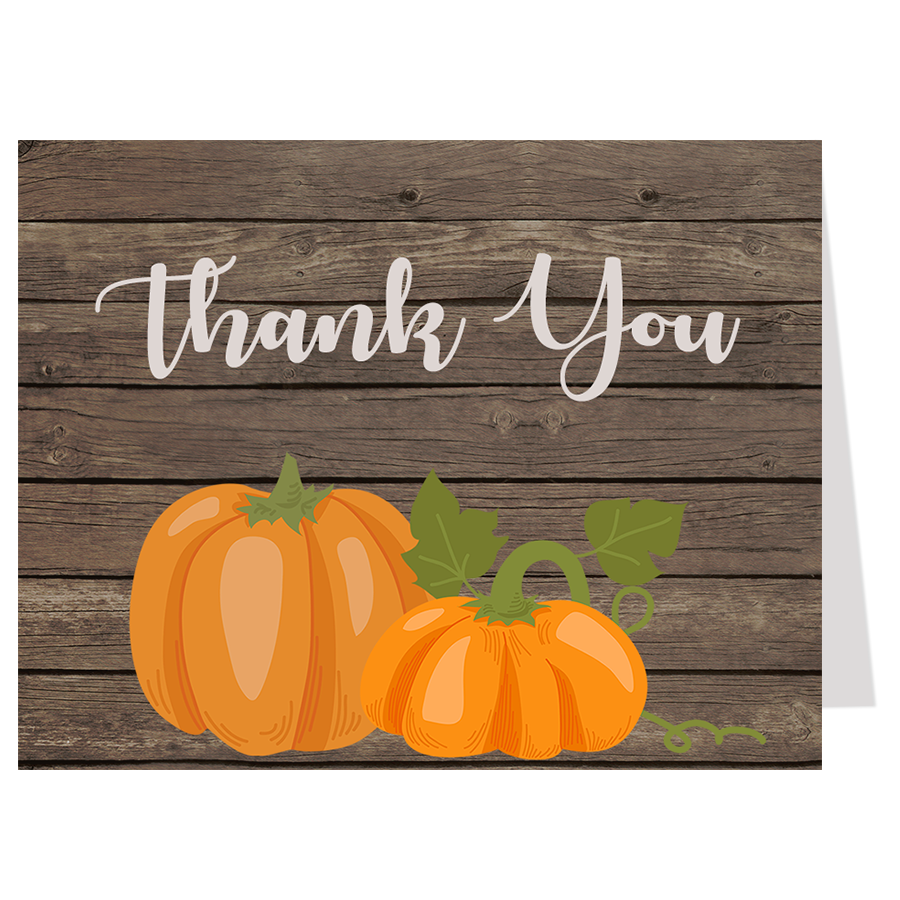 Rustic Pumpkin Baby Shower Thank You Card