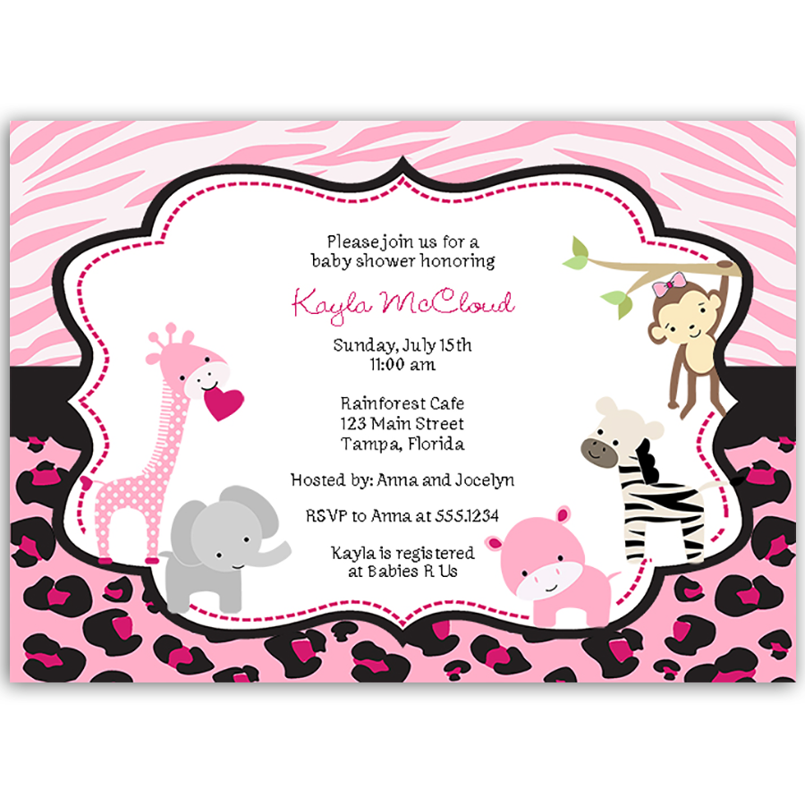 Pink safari girl baby shower invitation the invite lady pink safari baby shower invitation filmwisefo Images