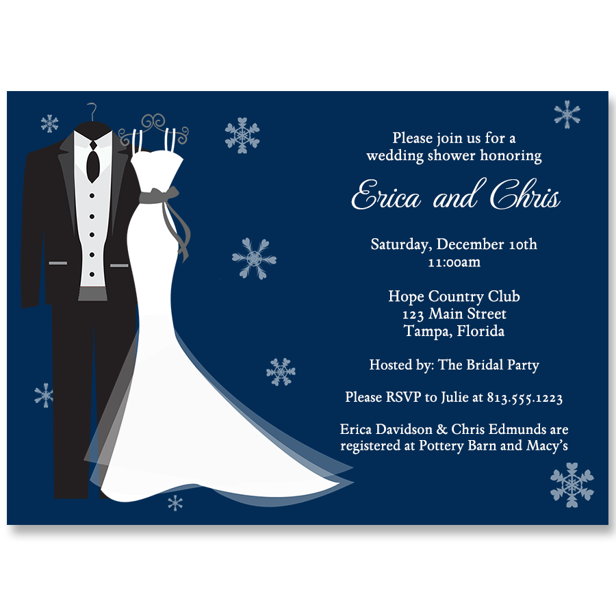 Say I Do Winter Bridal Shower Navy Invitation