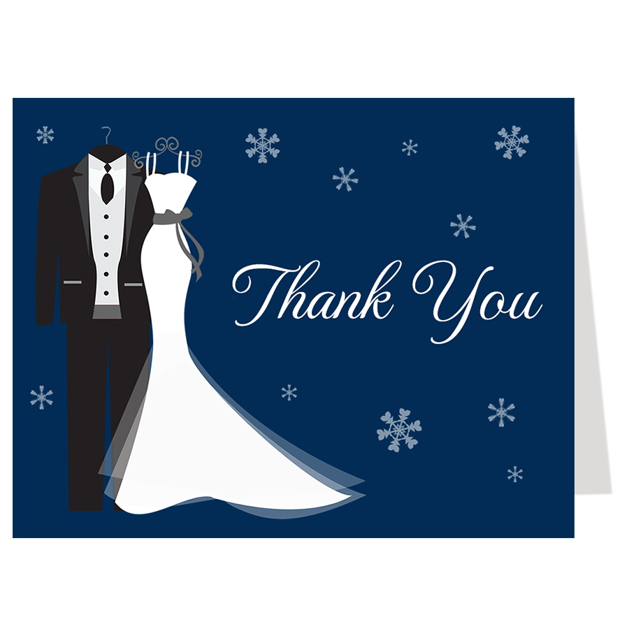 Say I Do Winter Bridal Shower Navy, Thank You Card