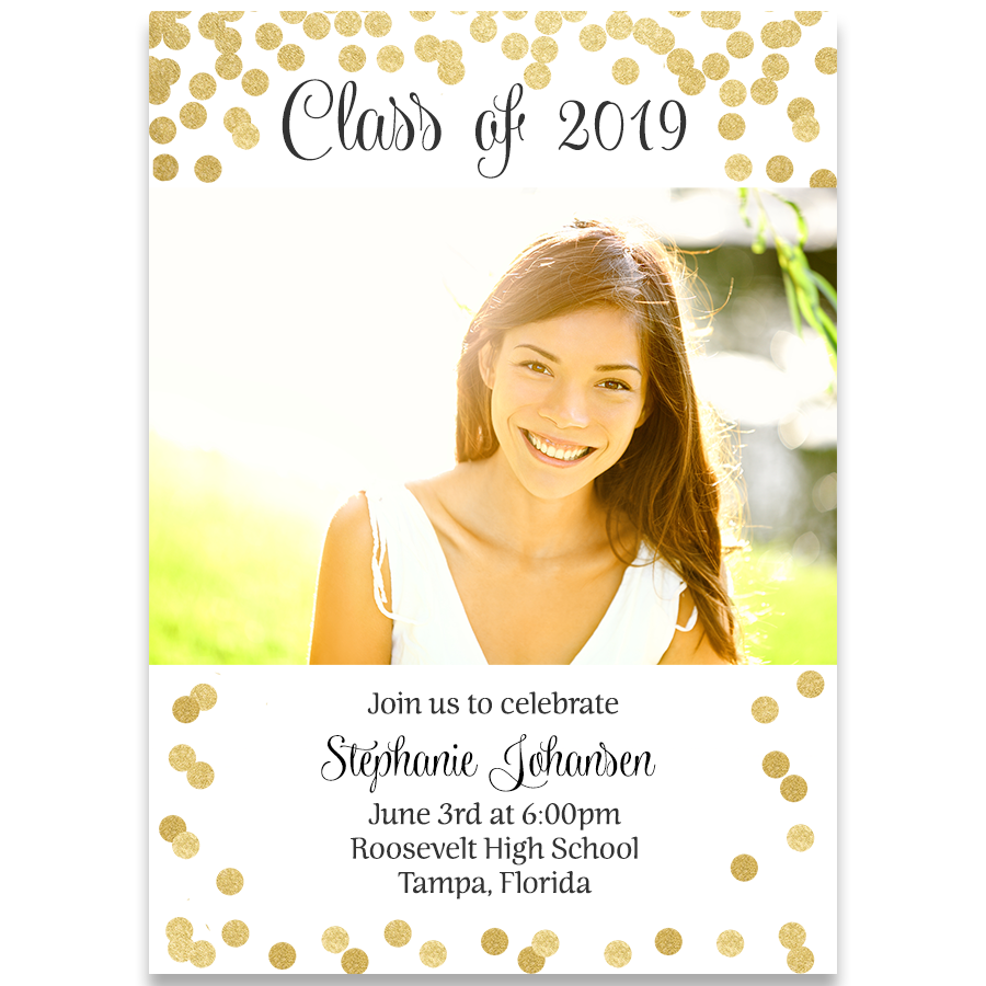 Senior Cheers Gold Graduation Announcement