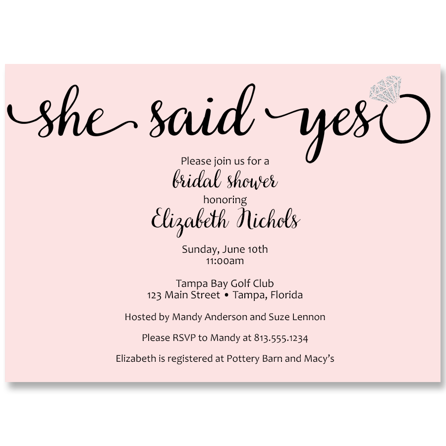 She Said Yes Pink Bridal Shower Invitation