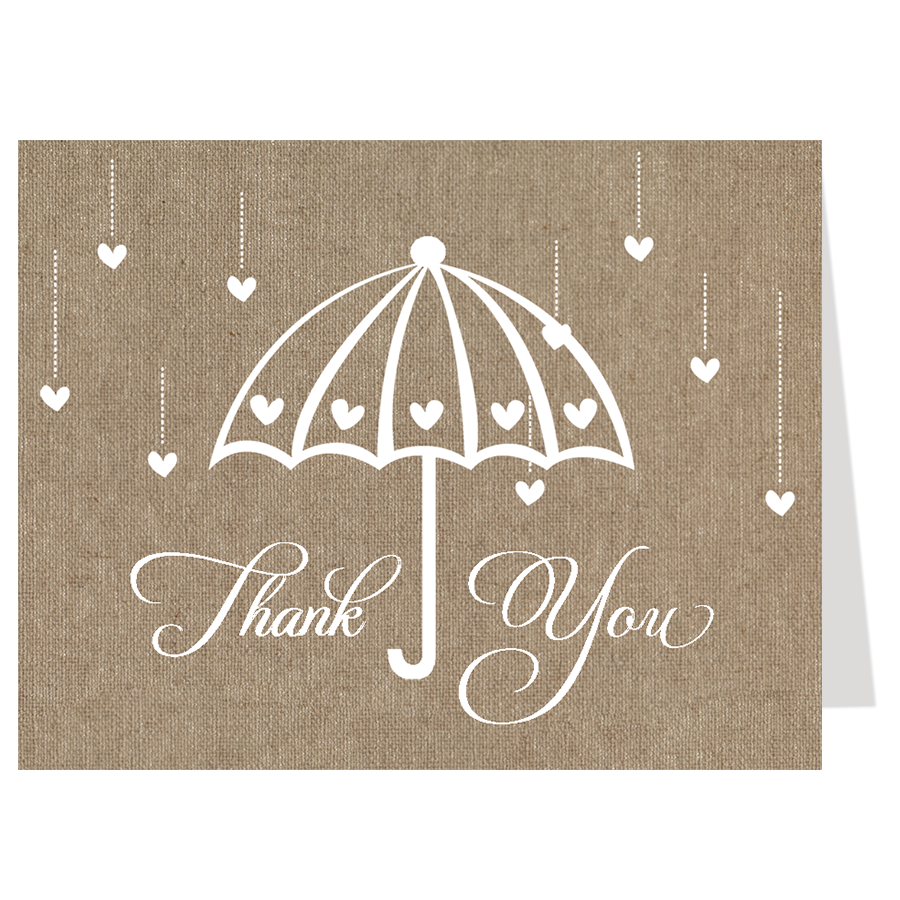 Shower Her with Love Burlap Thank You Card