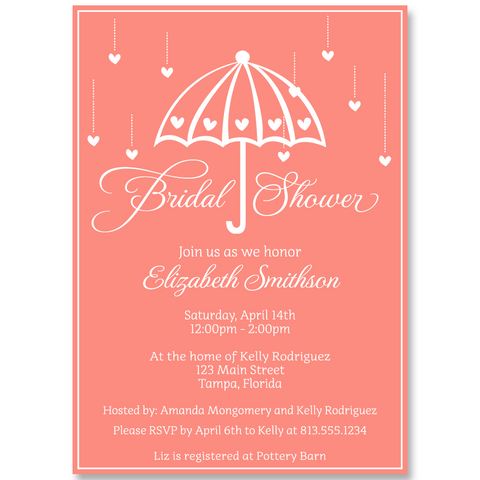 Shower Her With Love, Coral, Bridal Shower Invitation