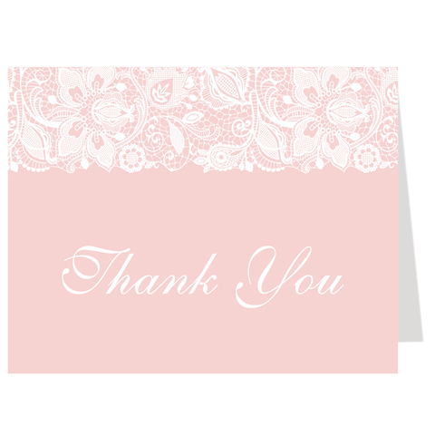 Simple Lace Pink Thank You Card