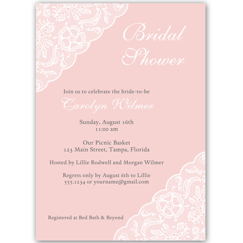 Simple Lace Pink Bridal Shower Invitation