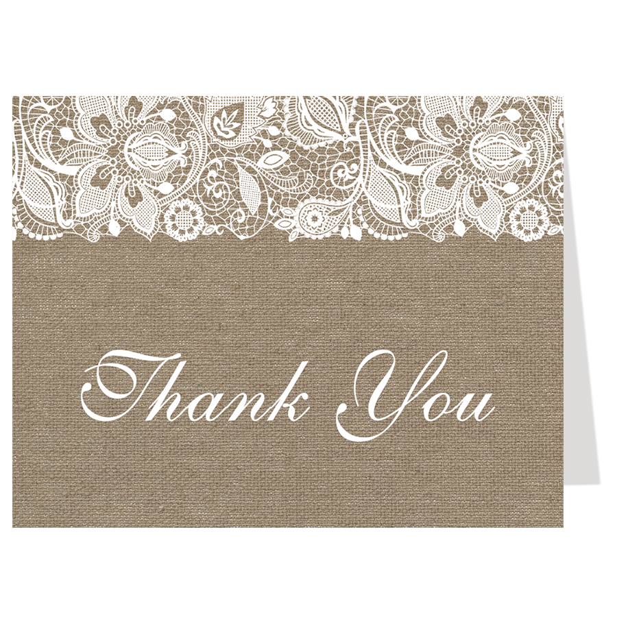 Simple Lace Burlap Thank You Card