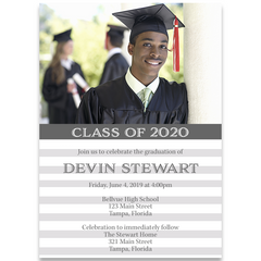 Simple Stripes Graduation Invitation
