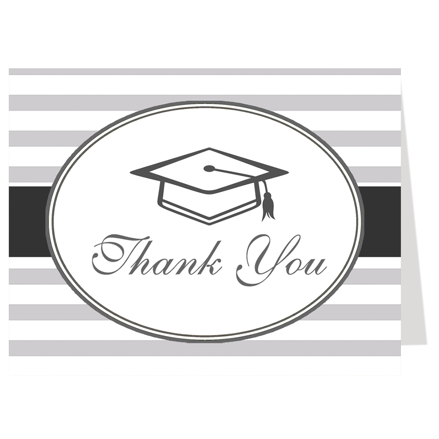 Simple Stripes Graduation Thank You Card