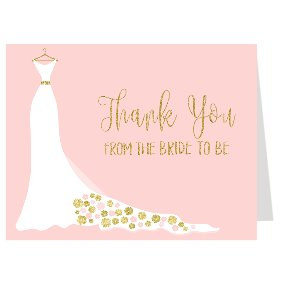 Simple Wedding Gown Pink and Gold Thank You Card