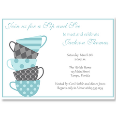 Sip and See Blue Baby Shower Invitation
