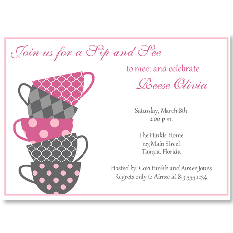 Sip and See Pink Baby Shower Invitation
