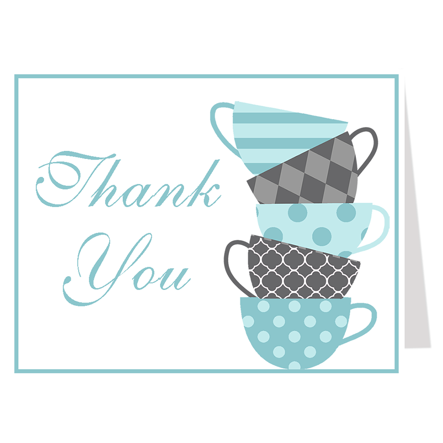 Sip and See Blue Thank You Card