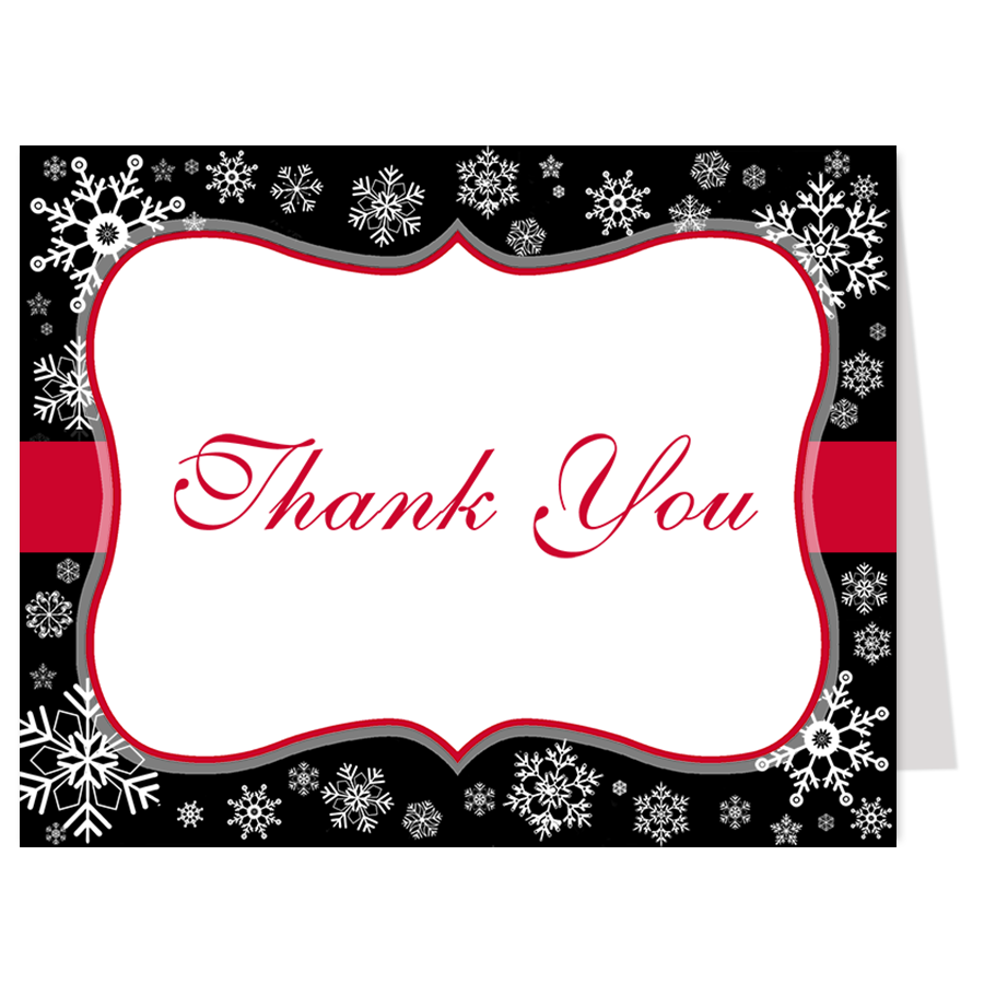 Snowfall Kind of Love Black Thank You Card