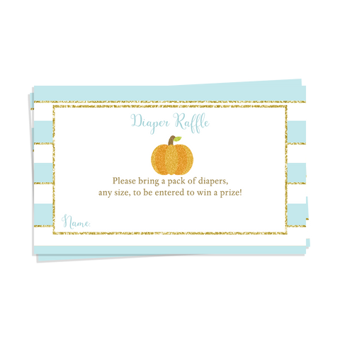 Sparkling Pumpkin Blue Baby Shower Diaper Raffle Ticket