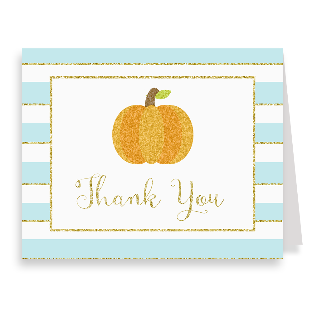 Sparkling Pumpkin Blue Thank You Card