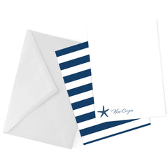 Nautical Starfish Navy Personalized Note Card