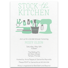 Stock The Kitchen Mint Wedding Shower Invitation