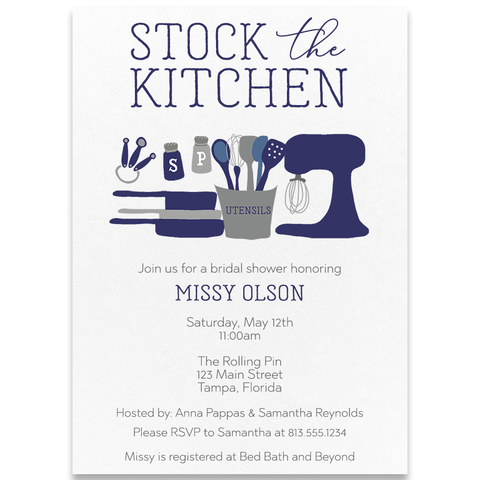 Stock The Kitchen Navy Wedding Shower Invitation