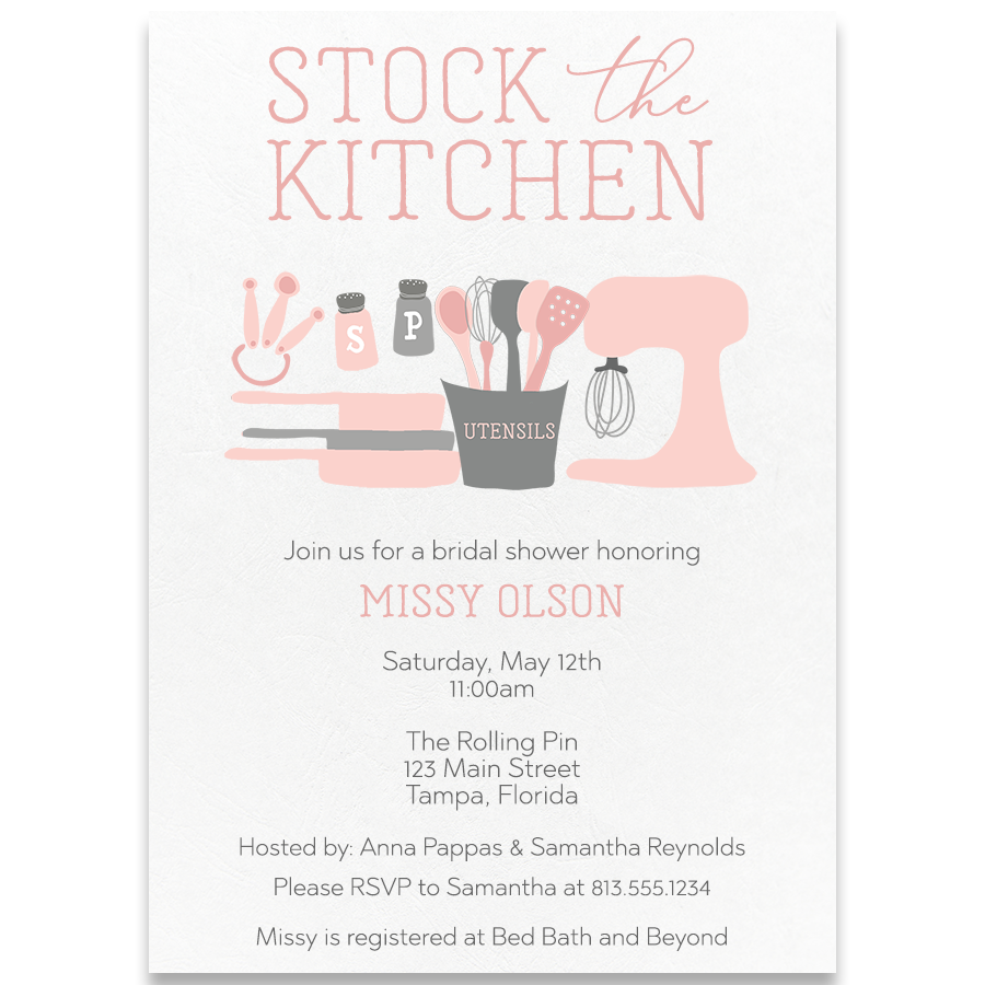 stock the kitchen pink wedding shower invitation