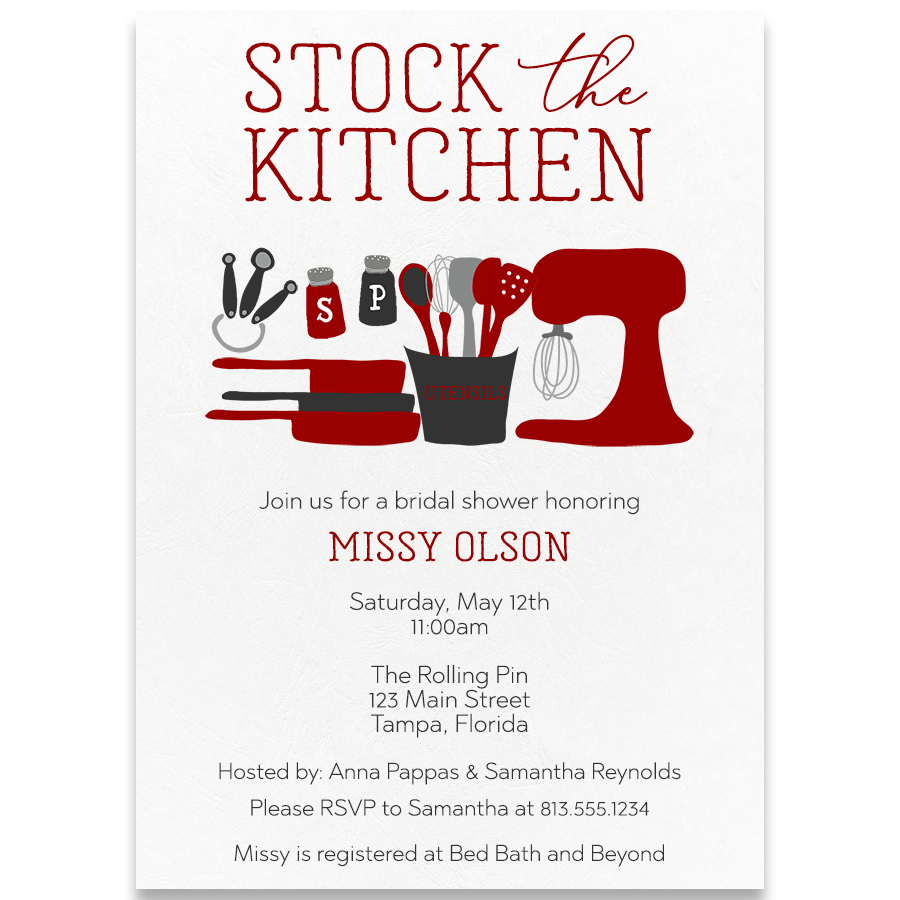Stock The Kitchen Red Wedding Shower Invitation – The Invite Lady