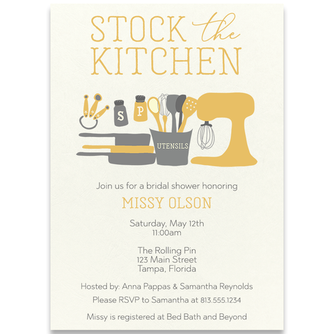 Stock The Kitchen Yellow Wedding Shower Invitation
