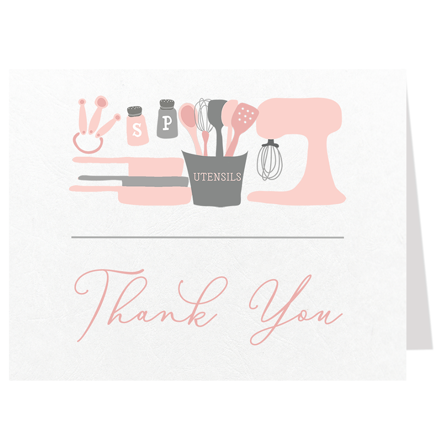Stock The Kitchen Pink Thank You Card
