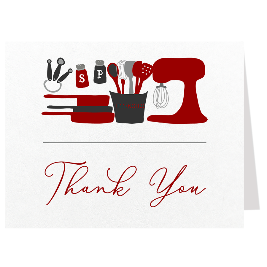 Stock The Kitchen Red Thank You Card