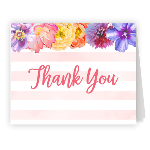 Striped Watercolor Wildflower Bridal Shower Thank You Card