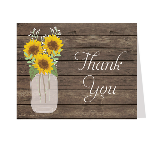 Sunflower Mason Jar Thank You Card