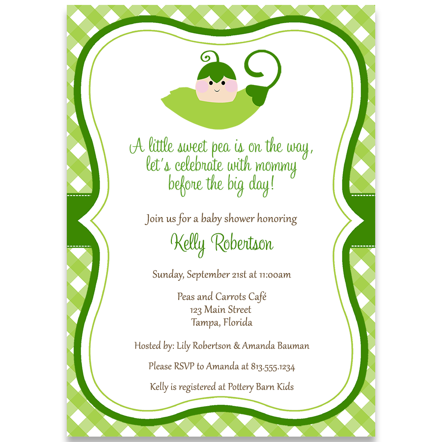 Sweet Pea Baby Shower Invitation – The Invite Lady