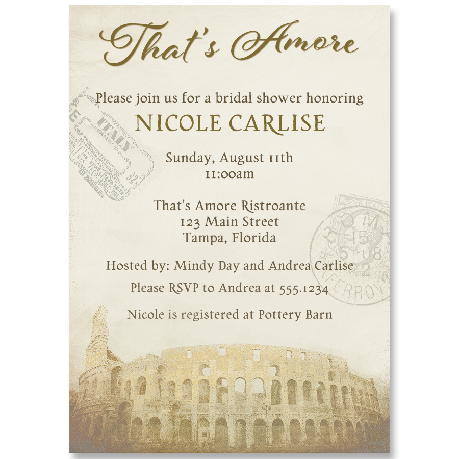 That's Amore Chocolate Bridal Shower Invitation