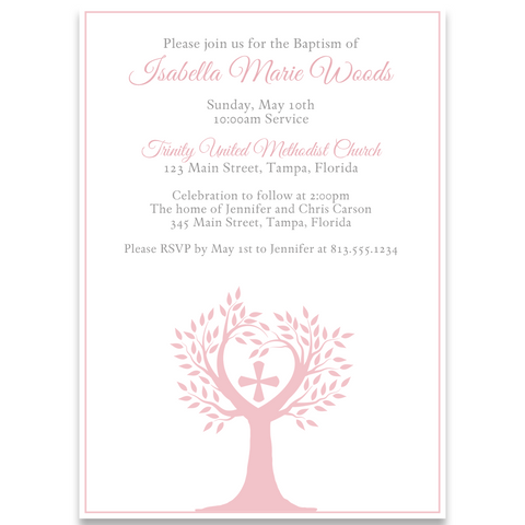 Tree Of Life Baptism Invitation