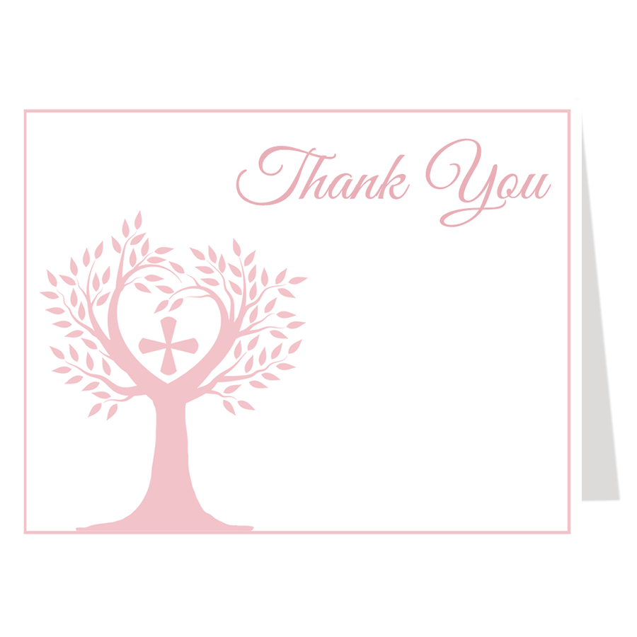Tree Of Life Pink Thank You Card