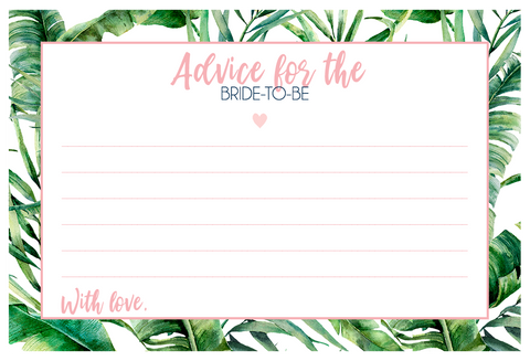 Tropical Vibes Bridal Shower Advice Card