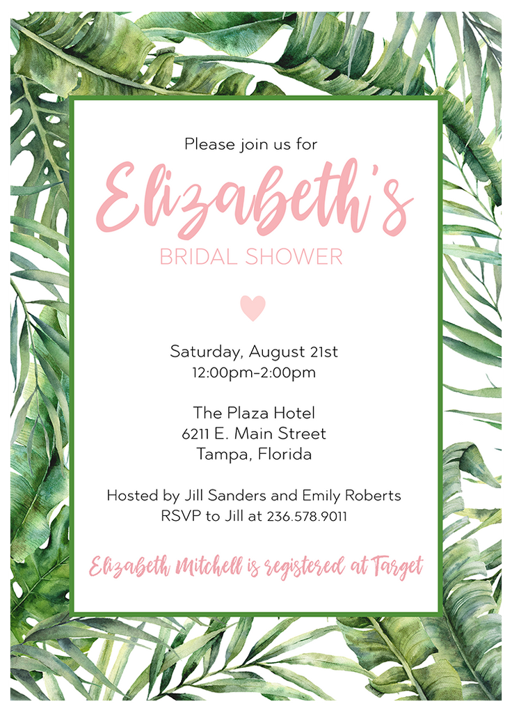 Tropical Vibes Bridal Shower Invitation