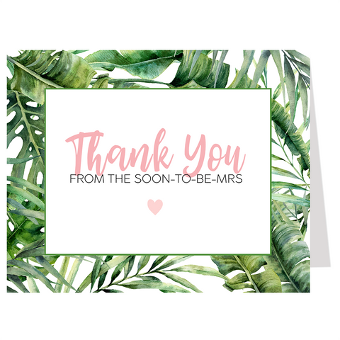 Tropical Vibes Bridal Shower Thank You Card