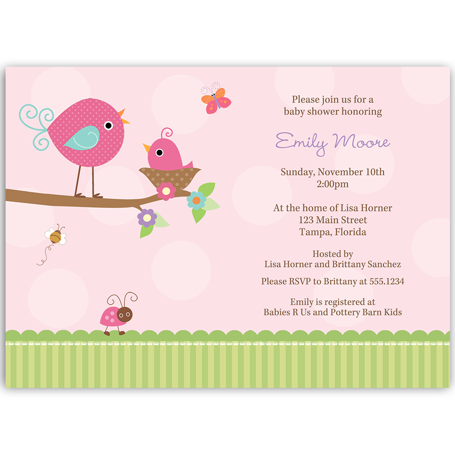 Tweet Baby Girl Baby Shower Invitation