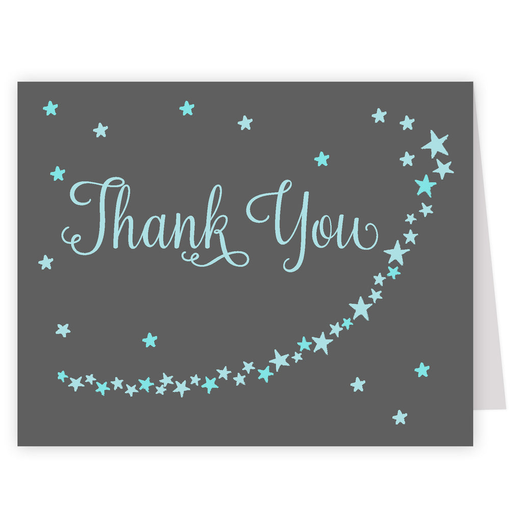Twinkle Stars Blue Thank You Card