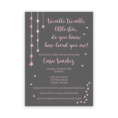 Twinkle Stars Pink Baby Shower Invitation