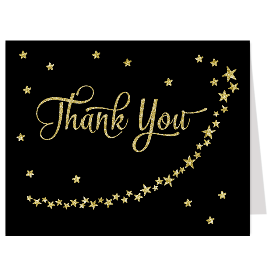 Twinkle Stars Black and Gold Thank You Card