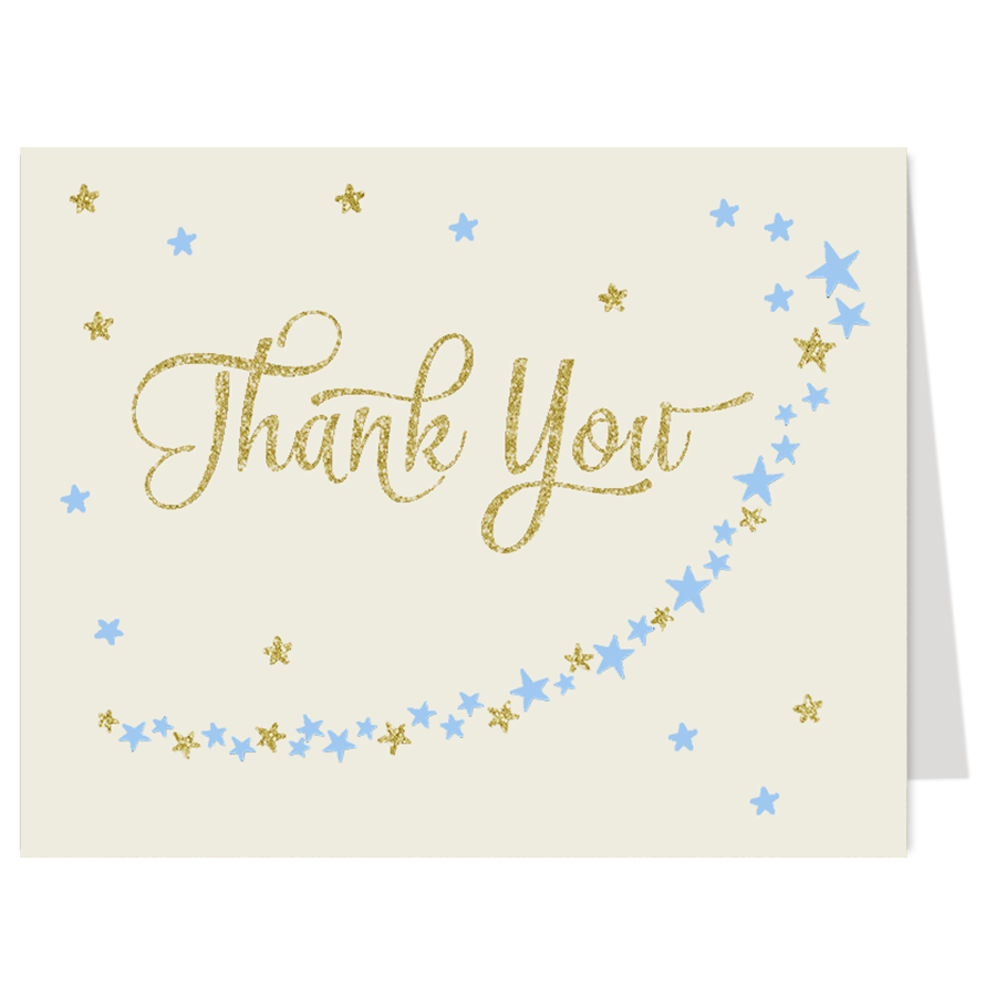 Twinkle Stars Glitter and Gold Boys Thank You Card