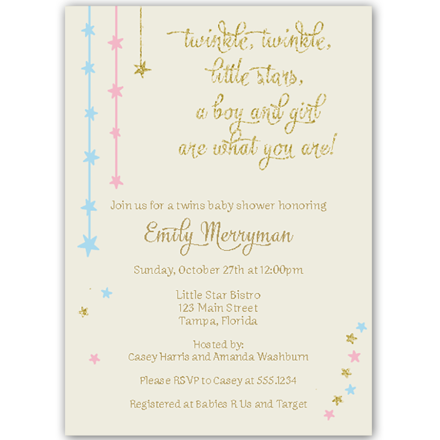 Twinkle Stars Glitter and Gold Twins Baby Shower Invitation